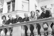 Soviet Premier Nikita Khrushchev, third from the left, poses with members of his family on the balcony of a house near Moscow in April 1963. Sergei Khrushchev is second from left.
