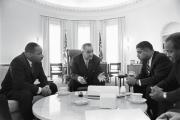 SHARED DREAM. President Lyndon B. Johnson meets with civil rights leaders Martin Luther King Jr., Whitney Young and James Farmer in January 1964.