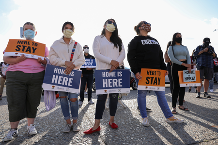 Demonstrators in San Diego rally in support of the Deferred Action for Childhood Arrivals program on June 18. (CNS photo/Mike Blake, Reuters)