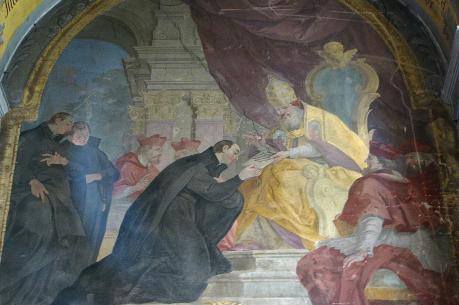 Ignatius' persistence finally brought Pope Paul III's formal approval in late September 1540 (Johann Christoph Handke, Church of Our Lady Of the Snow, Olomouc, Czech Republic).