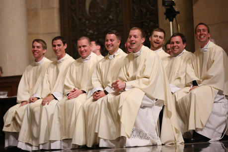 Ten priests at the conclusion of their ordination Mass on May 27, 2017, at the Cathedral of St. Paul in St. Paul, Minn. (CNS photo/Dave Hrbacek, The Catholic Spirit)