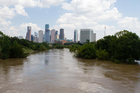 Buffalo Bayou floods past its banks near downtown Houston on Aug. 31, 2017, after Hurricane Harvey hit Texas with 4.5 feet of rain. (CNS photo/James Ramos, Texas Catholic Herald)