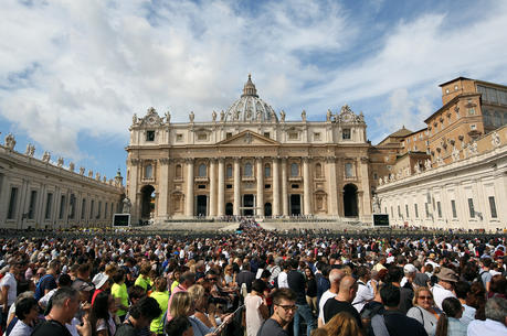 A large crowd is seen as Pope Francis leads the Angelus in St. Peter's Square Sept. 17 at the Vatican.