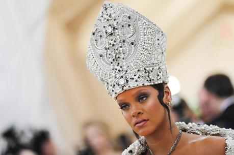 "Singer Rihanna arrives at the Metropolitan Museum of Art in New York May 7 for the exhibit ""Heavenly Bodies: Fashion and the Catholic Imagination."" (CNS photo/Carlo Allegri, Reuters)"