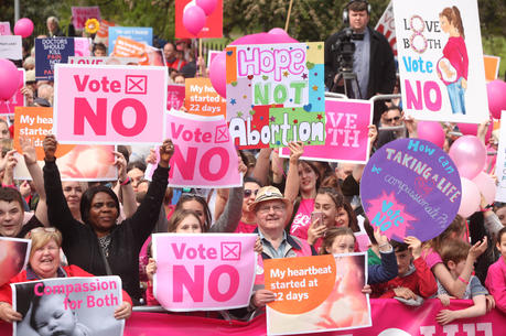"Thousands gathered in Dublin May 12 to say ""Love Both"" and ""Vote No"" to abortion on demand. They were protesting abortion on demand in the forthcoming referendum May 25. (CNS photo/John McElroy)"