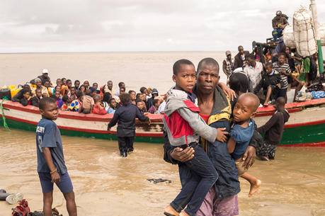 Survivors of Cyclone Idai arrive at an evacuation center on March 21, 2019, in Beira, Mozambique. The African nation is one of three that Pope Francis will visit in September. (CNS photo/Denis Onyodi, Red Cross Red Crescent via Reuters)