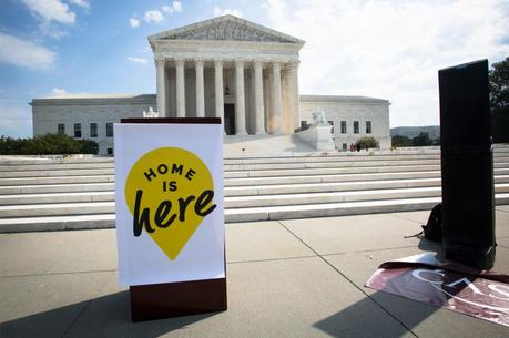 A podium is seen in front of the U.S. Supreme Court in Washington Oct. 2, 2019, prior to the start of a DACA demonstration. On Nov. 12, the court will hear arguments in a challenge to the Trump administration's termination of the Deferred Action for Childhood Arrivals. The case will affect the lives of more than 700,000 young people who were brought to the U.S. as minors without documentation. (CNS photo/Tyler Orsburn)