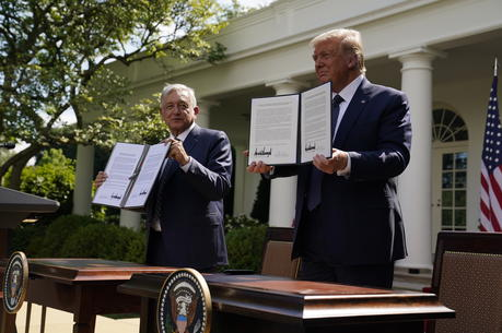 President Donald Trump greets Mexican President Andres Manuel Lopez Obrador at the White House in Washington, Wednesday, July 8, 2020. (AP Photo/Patrick Semansky)