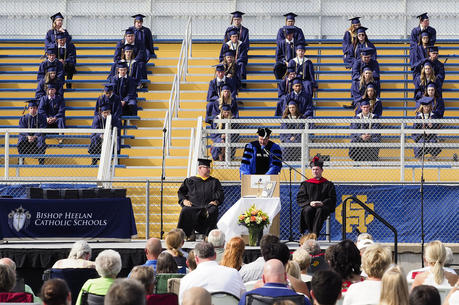 John Flanery, president of Bishop Heelan Catholic Schools in Sioux City, Iowa, speaks to graduating seniors and their families June 27, 2020, during the coronavirus pandemic. (CNS photo/Jerry L Mennenga)