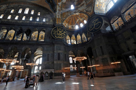 People visit Hagia Sophia in Istanbul June 30, 2020. (CNS photo/Murad Sezer, Reuters)
