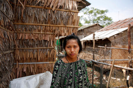 A young woman is pictured in a file photo near her hostel in Yangon, Myanmar. (CNS photo/Myat Thu Kyaw, Reuters)