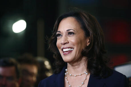In this June 27, 2019, file photo, then-Democratic presidential candidate Sen. Kamala Harris, D-Calif., listens to questions after the Democratic primary debate hosted by NBC News at the Adrienne Arsht Center for the Performing Art in Miami. (AP Photo/Brynn Anderson, File)