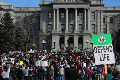 A March for Life rally in front of the Colorado Capitol in Denver on Jan. 17, 2015. (CNS photo/Eileen Walsh)