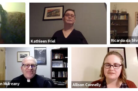 The image displays five photos of the five members of the prayer service's organizing committee: Moira Egan, a white woman in her 50s with dark hair (top left); Kathleen Friel, a white woman with short hair wearing glasses (top middle); Ricardo da Silva, S.J., a white man who is bald with a brown beard, wearing glasses (top right); Father John Mulreany, S.J., wearing clerical carb that is black, and glasses (bottom left); Allison Connelly, white woman, light brown hair and glasses (bottom right)