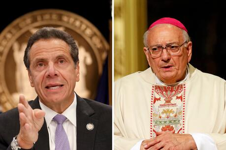 New York Gov. Andrew Cuomo and Bishop Nicholas DiMarzio of Brooklyn, N.Y., are seen in this composite photo. (CNS composite/Shannon Stapleton, Reuters, and Gregory A. Shemitz)