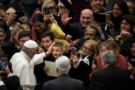 Pope Francis arrives for his general audience in Paul VI hall at the Vatican Jan. 22, 2020.