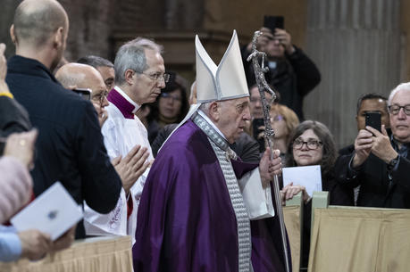 Pope Francis arrives to celebrate Ash Wednesday Mass at the Basilica of Santa Sabina in Rome Feb. 26, 2020. (CNS photo/Cristian Gennari, pool)