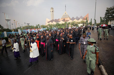 Prelates lead a protest in Abuja, Nigeria, over unending killings of Nigerians March 1, 2020. Nigerian bishops called on the international community to help the West African country in its fight against ethnic insecurity and terrorist groups such as Boko Haram. (CNS photo/Afolabi Sotunde, Reuters)