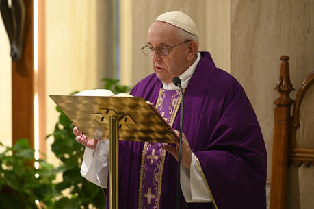 "Pope Francis celebrates Mass in the chapel of his Vatican residence, the Domus Sanctae Marthae, April 1, 2020. The pope thanked journalists and members of the media ""who work to communicate so that people don't find themselves so isolated."" (CNS photo/Vatican Media)"