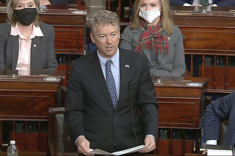 Sen. Rand Paul, Republican of Kentucky, makes a motion that the impeachment trial against former President Donald Trump is unconstitutional at the U.S. Capitol in Washington, on Jan. 26. (Senate Television via AP)