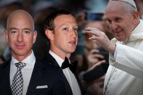 Jeff Bezos, Mark Zuckereberg and Pope Francis (AP)