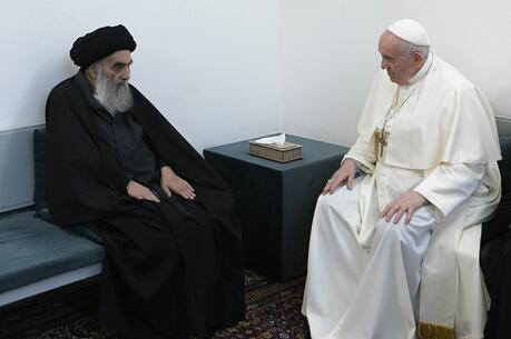 Ayatollah Ali al-Sistani, one of Shiite Islam's most authoritative figures, meets with Pope Francis in Najaf, Iraq, on March 6. (CNS photo/Vatican Media)