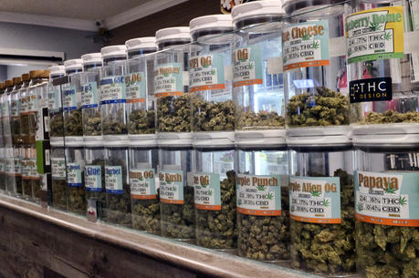 Jars of medical marijuana on display on at the Western Caregivers Medical dispensary in Los Angeles. (AP Photo/Richard Vogel, File)
