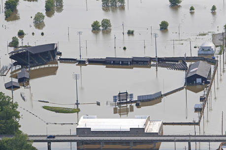The site of Clemens Field baseball stadium in Hannibal, Mo., near the Mississippi River, on May 31.  (Jake Shane/Quincy Herald-Whig via AP)