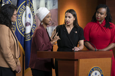 "From left, Rep. Rashida Tlaib, D-Mich., Rep. Ilhan Omar, D-Minn., Rep. Alexandria Ocasio-Cortez, D-N.Y., and Rep. Ayanna Pressley, D-Mass., respond to remarks by President Donald Trump after his call for the four Democratic congresswomen to go back to their ""broken"" countries, during a news conference at the Capitol in Washington, Monday, July 15, 2019. All are American citizens and three of the four were born in the U.S."