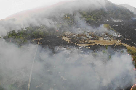 In this Aug. 20, 2019 drone photo released by the Corpo de Bombeiros de Mato Grosso, brush fires burn in Guaranta do Norte municipality, Mato Grosso state, Brazil. (Corpo de Bombeiros de Mato Grosso via AP)