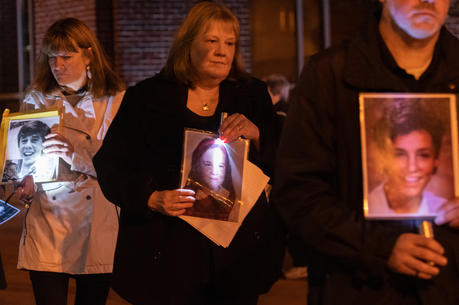 Supporter of S.N.A.P., Survivors Network of those Abused by Priests, walk in memory of alleged abuse victim outside the Nov 12 assembly of the United States Conference of Catholic Bishops in Baltimore. (CNS photo/Kevin J. Parks, Catholic Review)