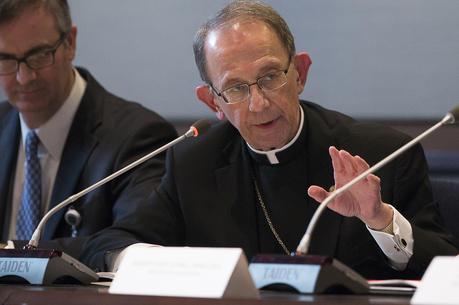 Bishop Lawrence T. Persico of Erie, Pa., speaks during a meeting in late January at the headquarters of U.S. Conference of Catholic Bishops in Washington. (CNS photo/Tyler Orsburn)