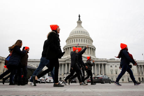 Young protesters call for an immigration bill to address the Deferred Action for Childhood Arrivals program at a rally in 2017 on Capitol Hill in Washington. (CNS photo/Joshua Roberts, Reuters)