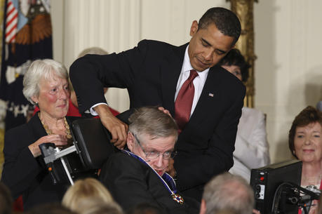 U.S. President Barack Obama presents the Medal of Freedom to Stephen Hawking during a ceremony at the White House in Washington Aug. 12, 2009 (CNS photo/Paul Haring).