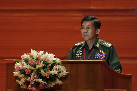 Senior Gen. Min Aung Hlaing, Myanmar military commander-in-chief, speaks during the Union Peace Conference Aug. 31 in Naypyitaw (CNS photo/Hein Htet, EPA).