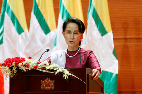 Aung San Suu Kyi, state counselor and foreign affairs minister and Myanmar's de-facto leader, delivers a speech to the nation Sept. 19 in Naypyitaw about the Rakhine and Rohingya situation. (CNS photo/Soe Zeya Tun, Reuters)