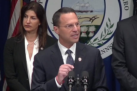 In a screen grab taken from video, Pennsylvania Attorney General Josh Shapiro speaks during an Aug. 14 news conference to release a grand jury on a months-long investigation into abuse claims spanning a 70-year period in the dioceses of Harrisburg, Pittsburgh, Scranton, Allentown, Greensburg and Erie. (CNS photo/Reuters video)