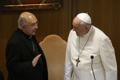 Pope Francis talks with Cardinal Pedro Barreto Jimeno of Huancayo, Peru, during the afternoon session of the Synod of Bishops for the Amazon at the Vatican Oct. 8, 2019. (CNS photo/Paul Haring)