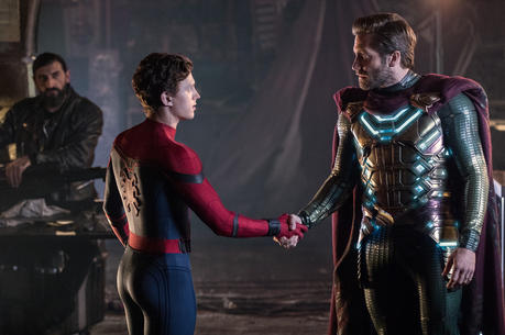 "In ""Spider-Man: Far From Home,"" Peter Parker (Tom Holland), left, greets Quentin Beck (Jake Gyllenhall), right. Though Beck claims to be a hero, he is secretly the supervillain Mysterio. (Photo: Sony Pictures)"