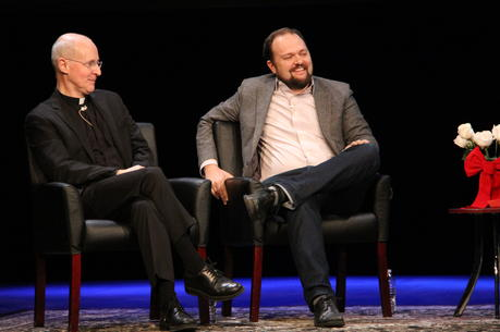 Father James Martin, S.J. and Ross Douthat at the Civility in America Part 1: Religion event held at The Sheen Center on Dec. 13th. (America/Antonio DeLoera-Brust).