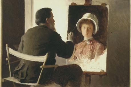 Ivan Kramskoy Painting a Portrait of his Daughter