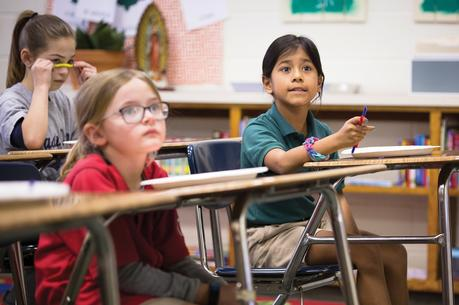 A second-grade Spanish class at Holy Name of Jesus Catholic School in Henderson, Ky., in March 2018. The school has 33 students registered as Hispanic for the 2018-19 academic year, up three from last year. (CNS photo/Tyler Orsburn)