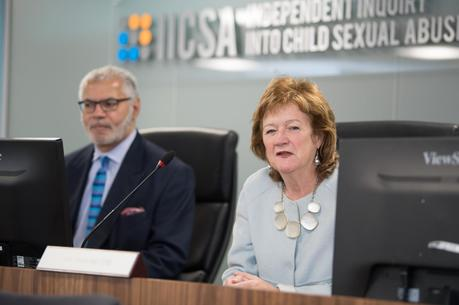 Panel members Ivor Frank and Alexis Jay at a public hearing of the Independent Inquiry into Child Sexual Abuse (courtesy of the Independent Inquiry into Child Sexual Abuse)