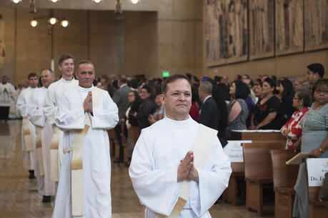 The Rev. Gilbert Guzman was ordained to the priesthood with nine others June 2 at the Cathedral of Our Lady of the Angels in Los Angeles. (Victor Alemán/Angelus News)
