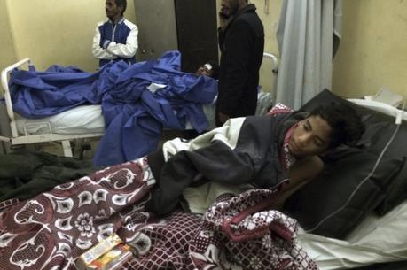 A 14-year-old boy receives medical treatment at Suez Canal University hospital in Ismailia, Egypt, Friday, Nov. 24, 2017, after he was in injured during an attack on a mosque (AP Photo/Amr Nabil).