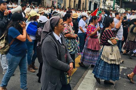 Protestors march to support a U.N. anti-corruption commission in Guatemala City on Jan. 6. Photo by Jackie McVicar.