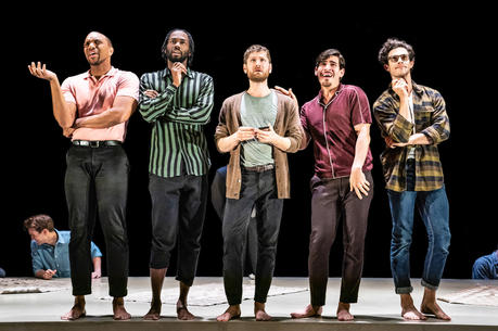 Jordan Barbour, Darryl Gene Daughtry Jr., Kyle Soller, Arturo Luís Soria and Kyle Harris in 'The Inheritance' (photo by Matthew Murphy for MurphyMade, 2019)