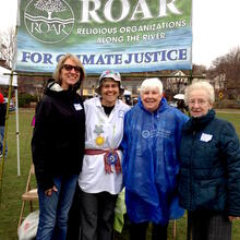 Dominican Sisters of Hope Bette Ann Jaster (center, left) and Nancy Erts (center, right) joined with other members to represent Religious Organizations Along the (Hudson) River at the Rally.