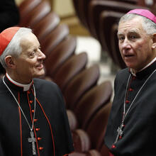 Cardinal Wuerl talks with Cardinal-designate John Dew before meeting with Pope Francis at Vatican.