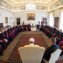 Pope Francis meets with Canadian bishops from Ontario on April 25 during their